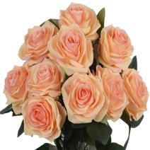 DALAMODA Peach 2 Bundles (with Total 20 Heads) Rose Flower Bouquet, for DIY Any Decoration Artificial Silk Flower(Pack of 2 Peac#1)