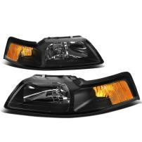 DNA Motoring HL-OH-FM99-BK-AM Black Amber Headlights Replacement For 99-04 Mustang