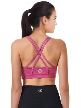 Cordaw Womens Workout Sports Bras Medium Impact Criss Cross Strappy Back Support Gym Crop Top