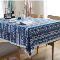 Bringsine Washable Cotton Linen Lace Bohemian Style Geometric Design Rectangle Tablecloth Dinner Picnic Table Cloth Home Decoration Assorted Size(Rectangle/Oblong, 55 x 79 Inch)