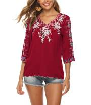Mansy Women's Embroidery Mexican Bohemian Shirt Short Sleeve Ruffled Peasant Cotton Tops Tunic Blouses