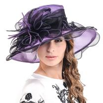 Womens Church Dress Derby Wedding Floral Tea Party Hat Ss-035 (Large Brim-Purple with Black)