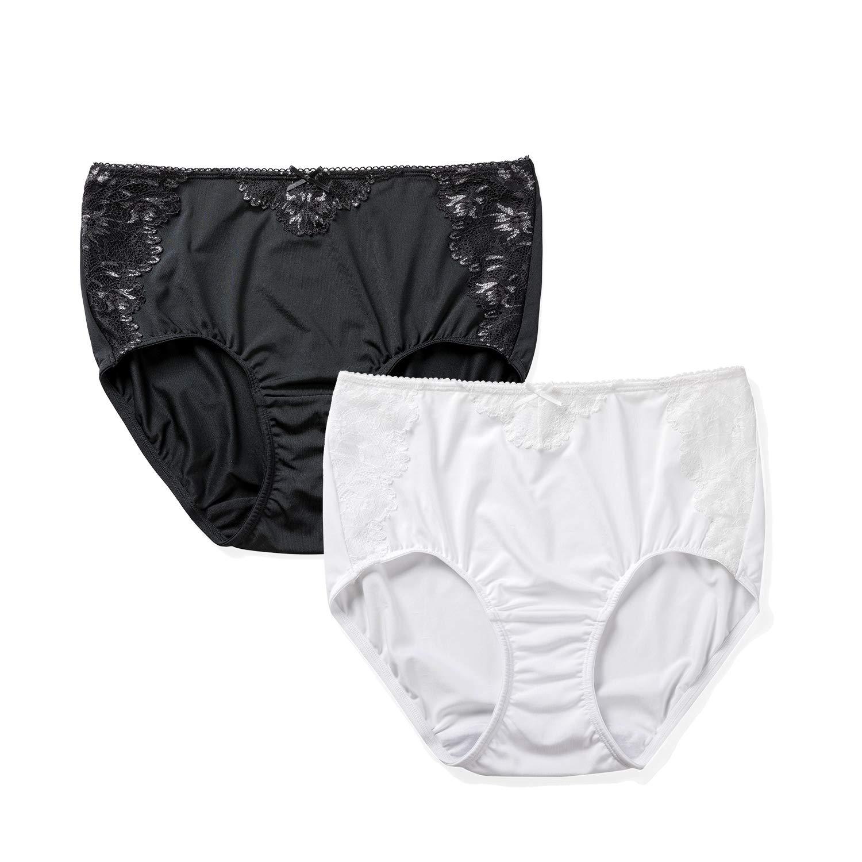 DELIMIRA Lace Seamless Mid-Waist Briefs Bikini Panties for Women Plus Size, 2 Pack