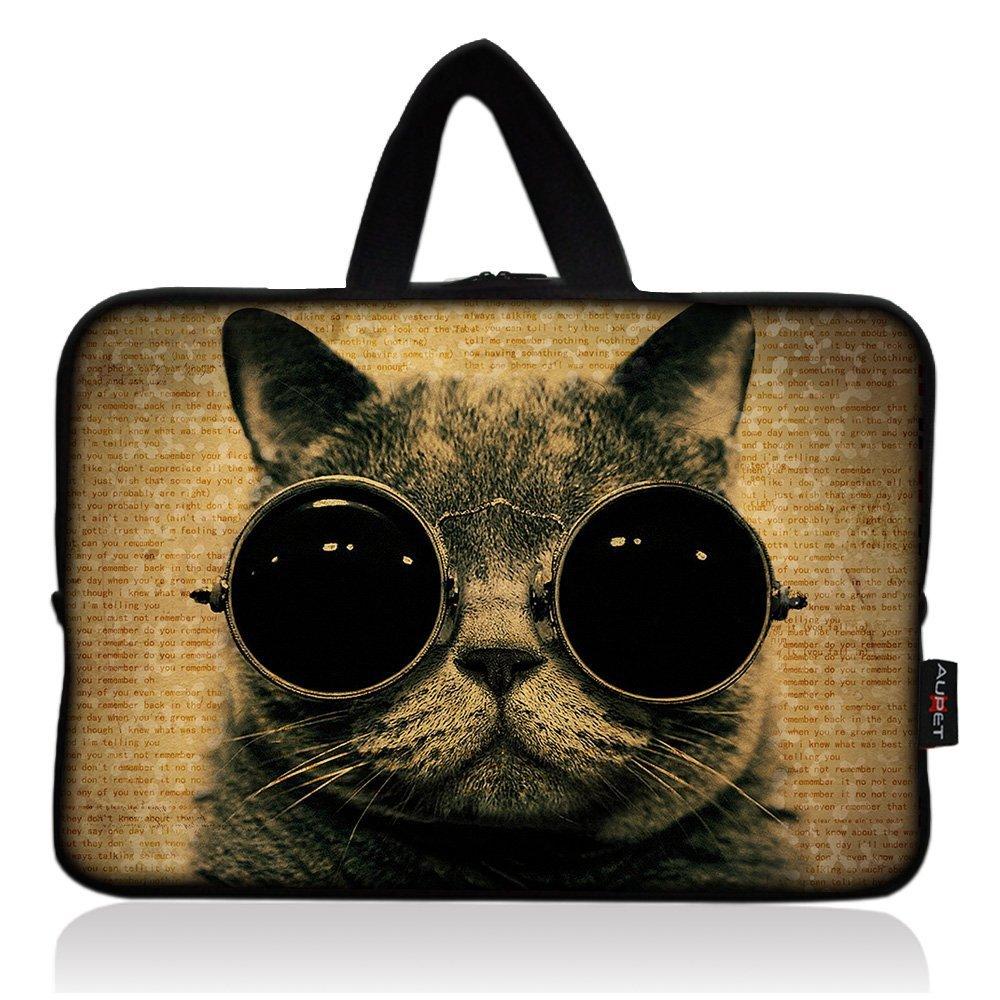 AUPET Cat Wearing Glasses Universal 7~8 inch Tablet Portable Neoprene Zipper Carrying Sleeve Case Bag