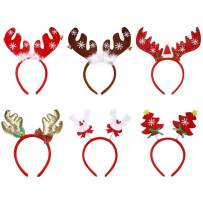 Vtrem 6 Packs Christmas Headbands Reindeer Antlers & Christmas Tree Hair Bands for Cosplay or Christmas Holiday New Years Decoration - Kids & Adults (One Size Fit All)