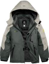 GEMYSE Boy's Waterproof Ski Snow Jacket Hooded Fleece Windproof Winter Jacket
