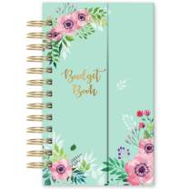"""Budget Planner - Undated Monthly Bill Organizer with Pockets, Expense Tracker Notebook, Compact Size 7.56"""" x 4.72"""" (Smaller Than A5), Budgeting Journal and Financial Planner - Green Flower"""