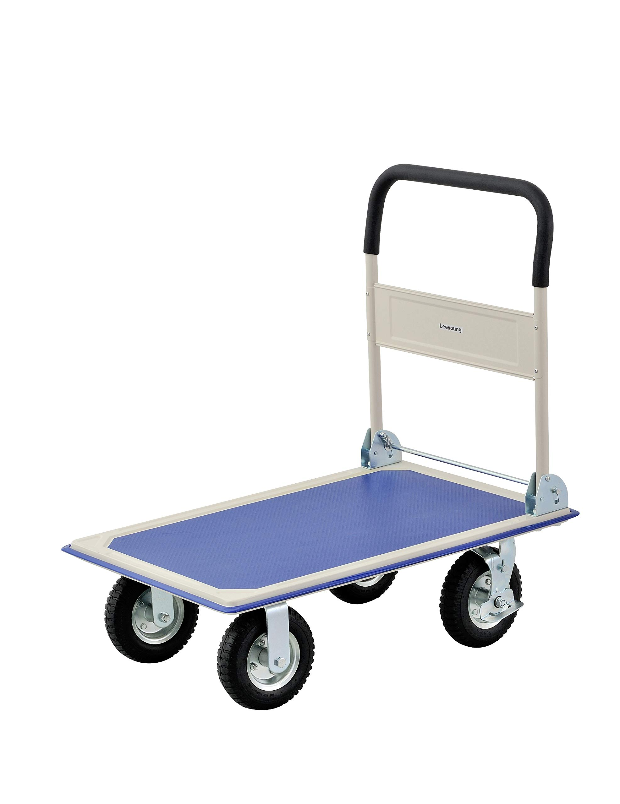 Flatbed Cart with Flatbed Cart with Flatbed Cart with Non-Slip Swivel Casters,Pneumatic tire,with Brake (660Lbs Load-Bearing Capacity, Blue)