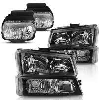 Headlight Assembly and Fog Lights Kit for 2003-2006 Chevy Avalanche / 2003-2007 Chevrolet Silverado 1500 2500 3500 1500HD 2500HD