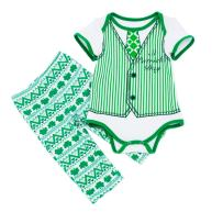 WINZIK Infant Baby Boys St. Patrick's Day Outfits Clover Printed Short Sleeve Romper Jumpsuit + Pants Clothes Set