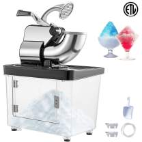 VEVOR 110V Commercial Electric Ice Shaver 440lbs/h Heavy Duty Snow Cone Maker with Dual Blades, Stainless Steel Slush Margarita Machine for School, Church, Restaurants, Bars, Black
