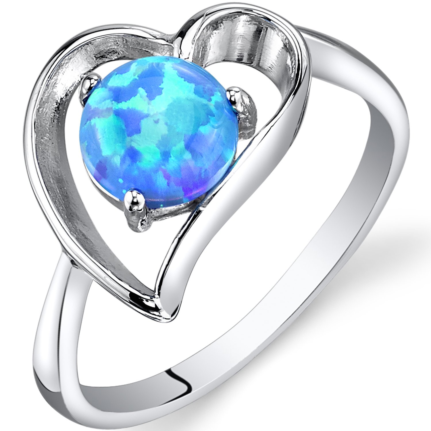 Created Powder Blue Opal Solitaire Heart Ring Sterling Silver Sizes 5 to 9