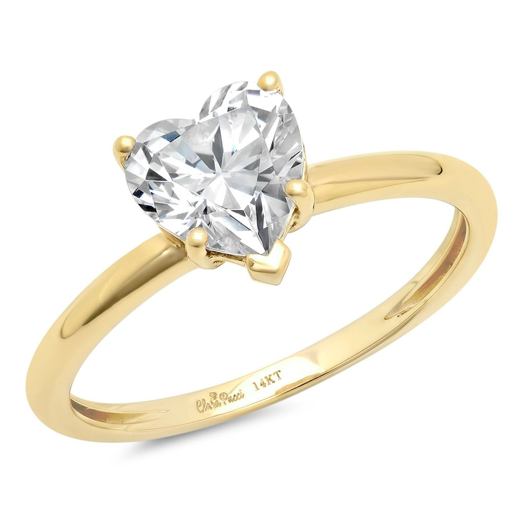 0.95ct Brilliant Heart Cut Solitaire Highest Quality Lab Created White Sapphire Ideal VVS1 D 5-Prong Classic Designer Statement Ring Solid Real 14k Yellow Gold for Women