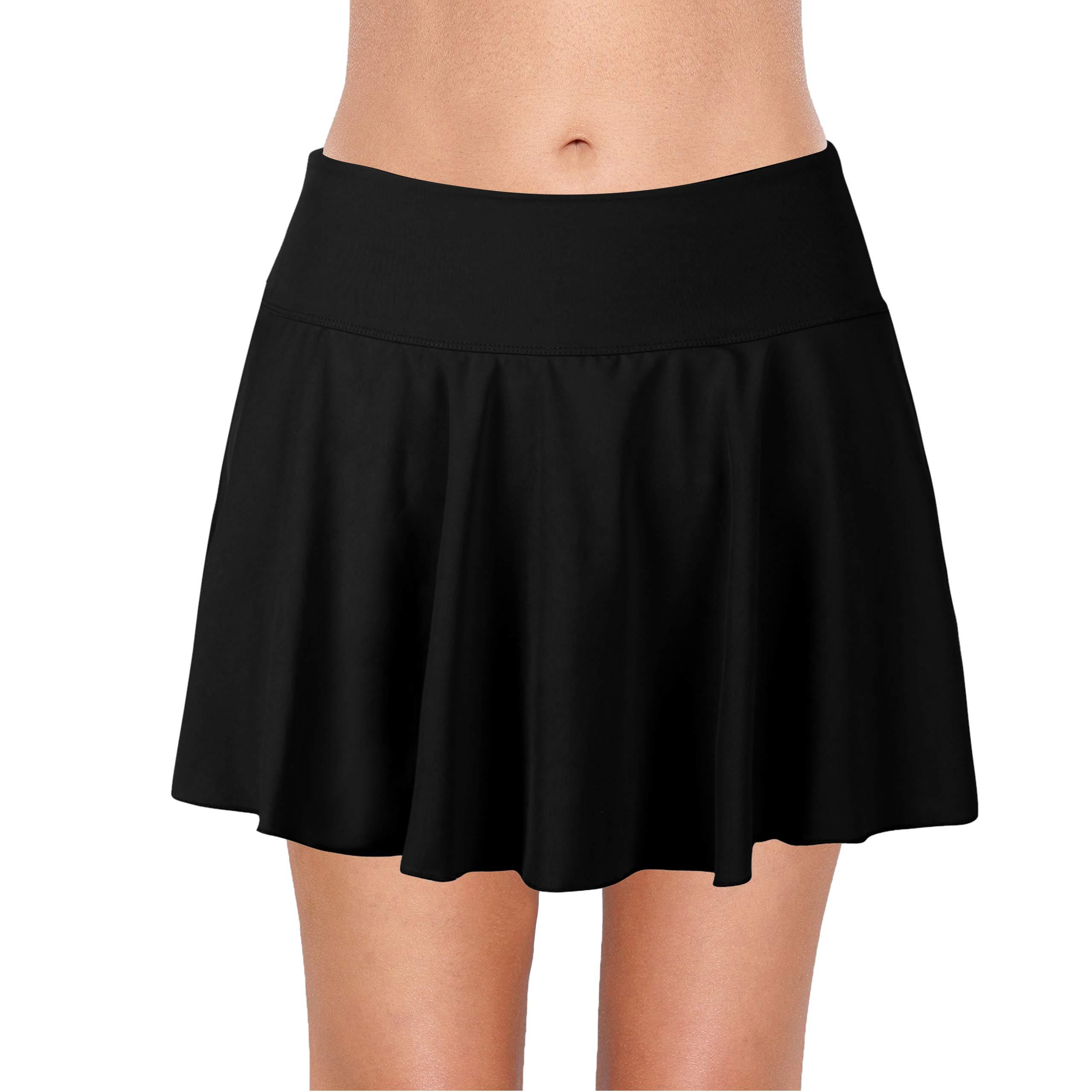 Saejous Women's Athletic Swim Skirt Plus Size Skirted Bikini Bottom Solid Color Vantage Tankini