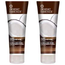 Desert Essence Coconut Hand & Body Lotion Nourishing Organic Coconut Oil, Hibiscus Flower Extract & Jojoba Oil - Softens & Moisturizes Skin - Vegan, Cruelty-Free, Sulfate-Free - 8oz (Pack of 2)
