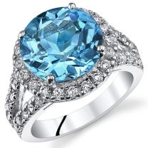 5.75 Carats Swiss Blue Topaz Engagement Ring Sterling Silver Sizes 5 to 9