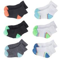 +MD 6 Pack Baby Quarter Socks Assorted Cushioned Socks With Heel Tab For Newborn Infant Toddlers Boys Girls