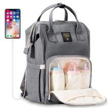 SUNVENO Diaper Bag Backpack with USB Charging Port, Large Capacity Baby Bags Multifunction Travel Backpack for Mom and Dad, Gray