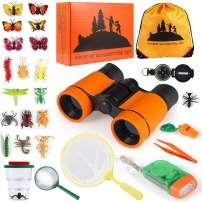 Kids Explorer Kit 27 Pcs, Outdoor Adventurer Exploration Equipment, Children's Binoculars, Flashlight, Compass, Magnifying Glass, etc. Great Educational Gift for Boys & Girls Camping, Hiking Pretend
