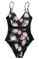 CUPSHE Women's Happy Time Floral Printing One-Piece Swimsuit Beach Swimwear