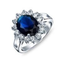 Bling Jewelry 5CT Royal Blue Oval Cubic Zirconia Simulated Sapphire CZ Crown Halo Engagement for Women Promise Ring Sterling Silver
