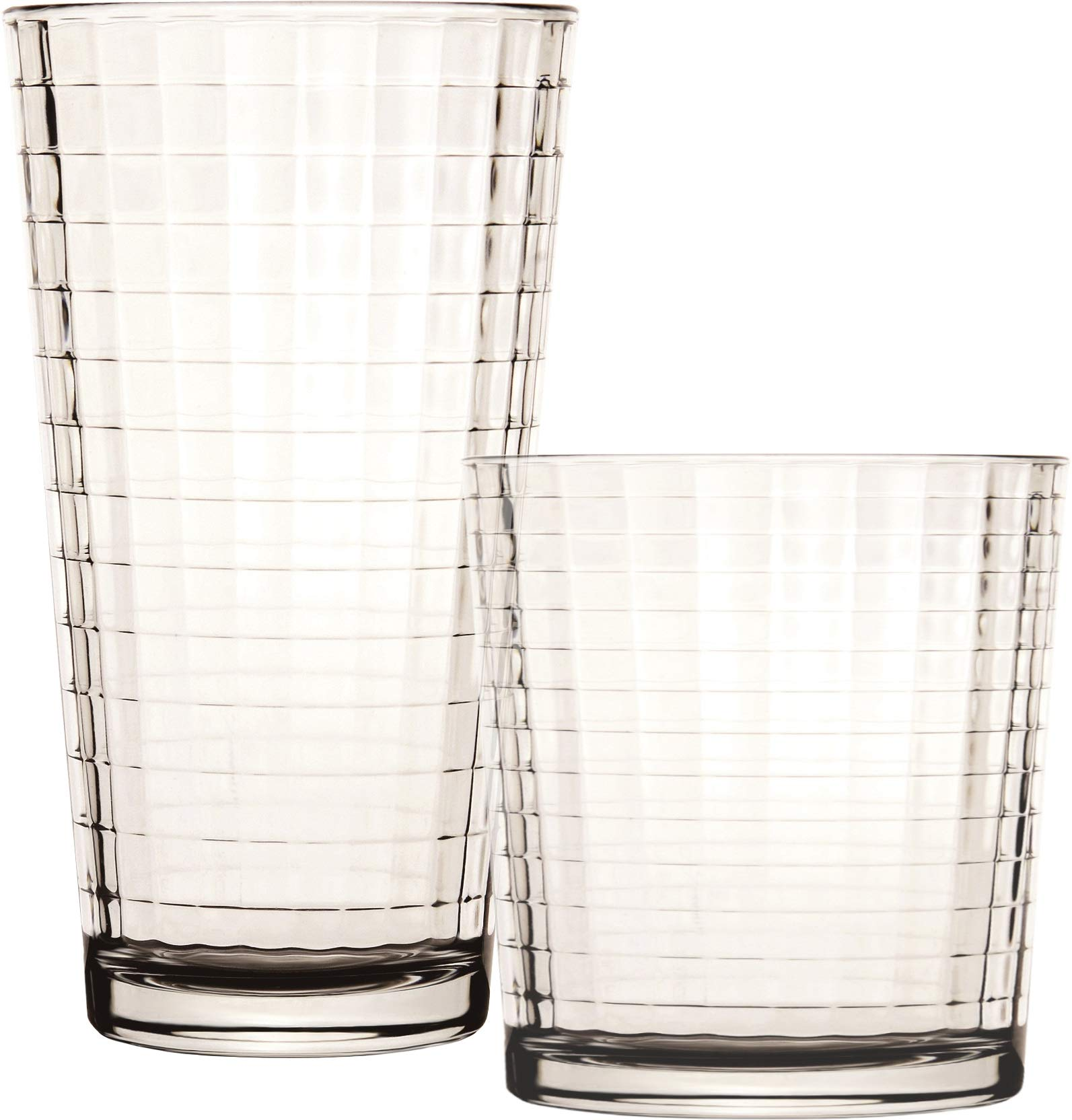 Circleware Matrix Set of 12-6-15.75 oz & 6-12.5 oz Highball Tumbler Drinking Glasses and Whiskey Cups, Glassware for Water, Beer, Juice, Ice Tea Beverages, 12pc