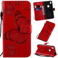 Cmeka Moto E6 Play Wallet Case   with Credit Card Slots Holder   3D   Butterfly   Magnetic Closure   Kickstand   Wrist Strap   Compatible with Motorola Moto E6 Play Red