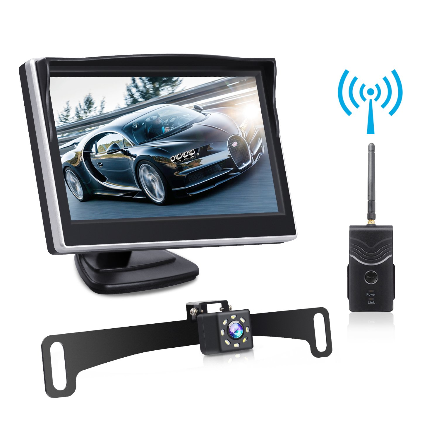 Digital Wireless Backup Camera Kit, TOGUARD 5'' LCD Backup Monitor + IP69 Waterproof 170°Wide View Angle Reverse Rear View License Plate Camera with 8 LEDs, Super Night Vision for Cars/Trucks/Pickup