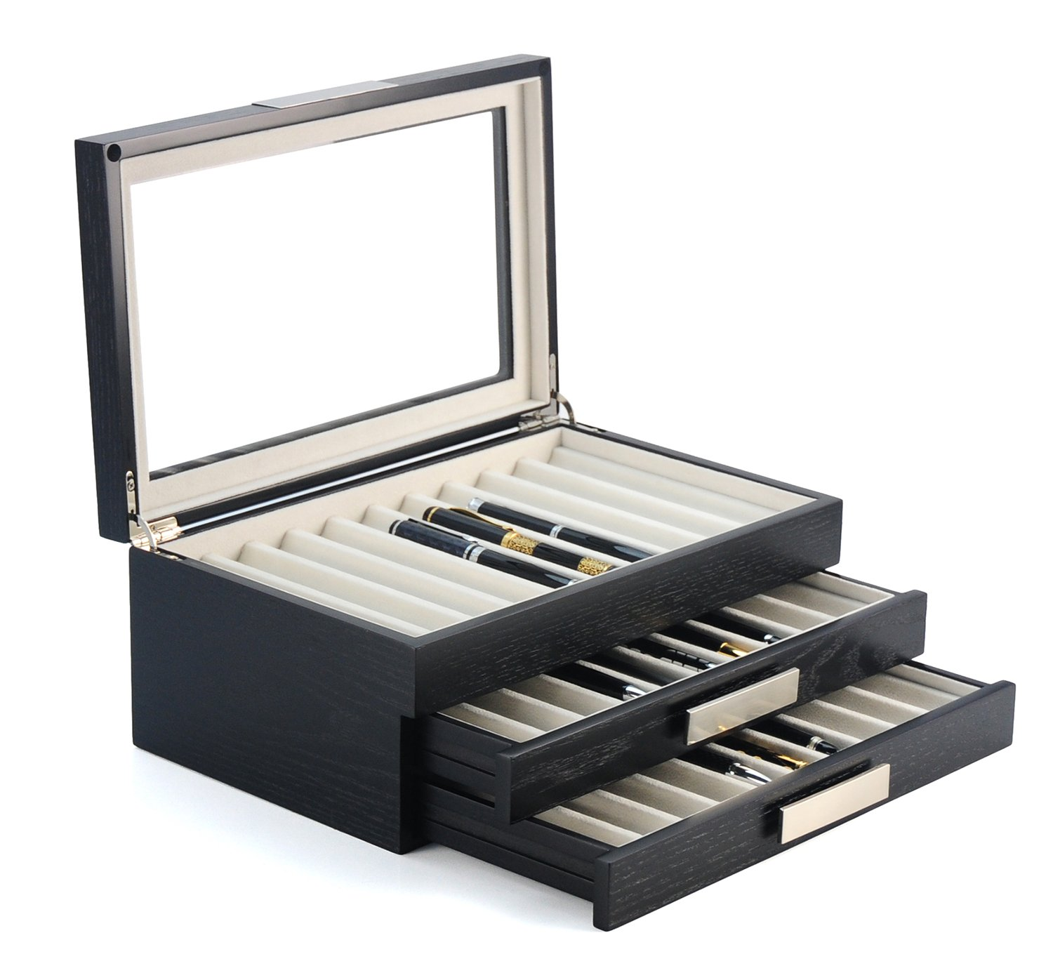 30 Piece Black Ebony Wood Pen Display Case Storage and Fountain Pen Collector Large Organizer Box with Glass Window Three Level Display Case with Drawers