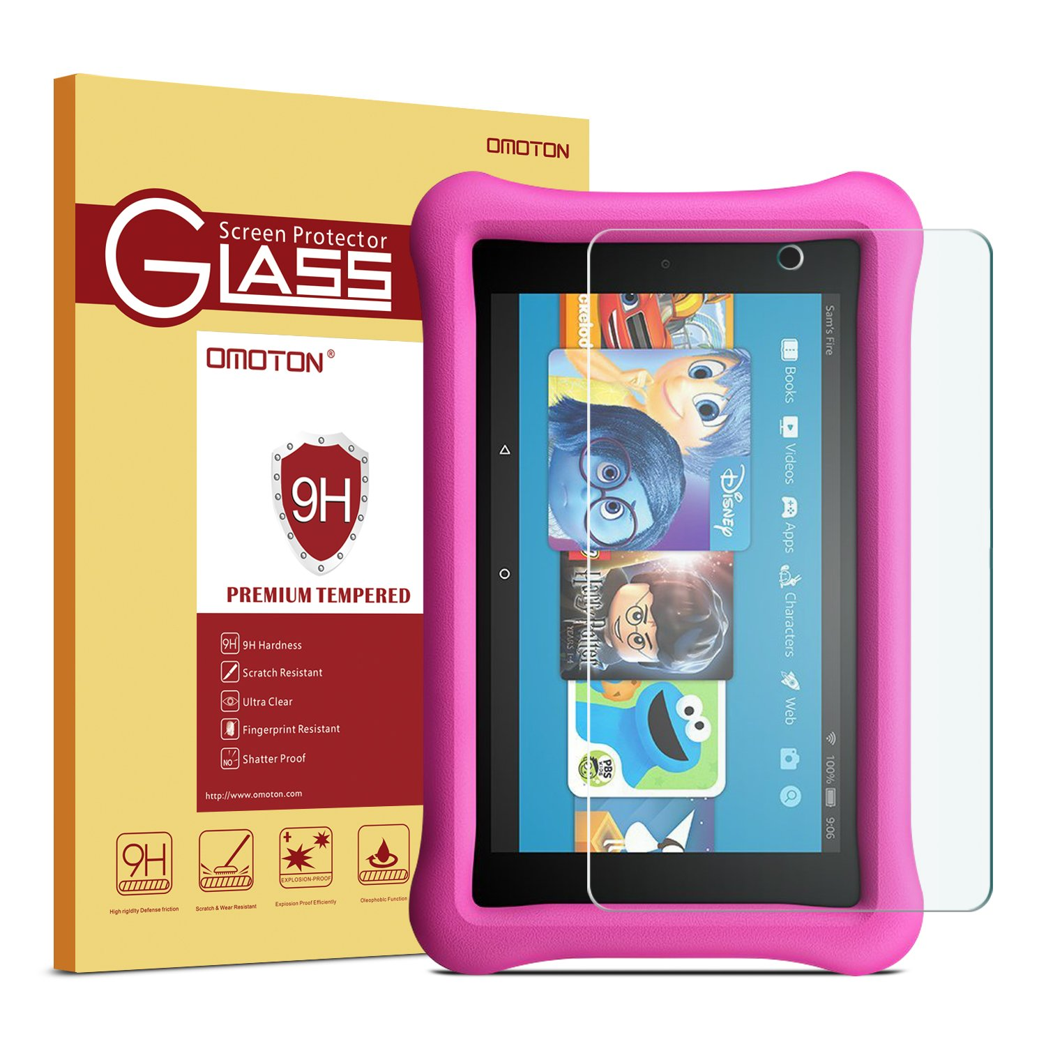 All-New Fire 7 / Fire 7 Kids Edition Screen Protector(Will Not Fit the 2015 version) OMOTON Tempered Glass Screen Protector for All-New Fire 7 / Fire 7 Kids Edition [7 Inch] (2017/2019 Released)