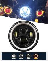 IRONWALLS 1pcs DOT Approved 7'' inch Led Headlights Headlamps Angel Eye Round Halo Black For Harley Motorcycle Jeep Wrangler JK TJ LJ Land Rover