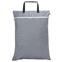 Teamoy Travel Hanging Wet Dry Bag Organizer (24.7 x 18 inches) with Two Compartments for Cloth Diaper, Laundry, Swimsuits and More, Easy to Hang Everywhere(L, Gray Dots)