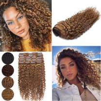 """Kinky Curly Real Hair Extensions Natural Afro Kinkys Remy Clip Ins For African American Women 3B 3C Deep Wave Water Curl Unprocessed Full Head Thick Clip Hair 8Pcs 18 Clips 16"""" 115g #30 Light Auburn"""