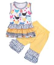 Girls Toddler Deluxe Novelty Ruffle Summer Boutique Shorts Outfit