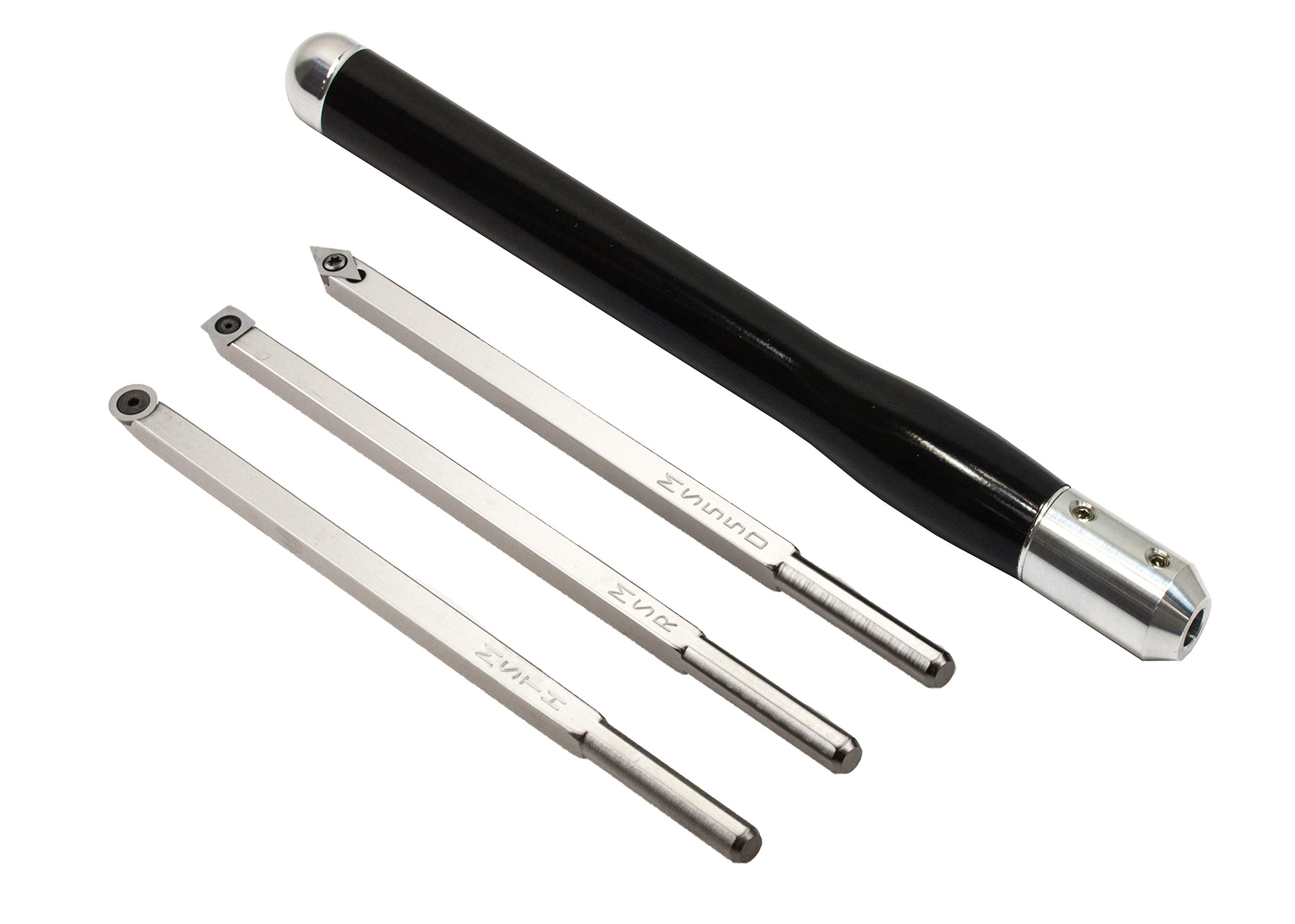 Simple Woodturning Tools Set of 3 Mid-Size Carbide Turning Tools with Interchangeable Handle for Wood Lathe, Stainless Steel, USA Made (3 Tools w/Super Mirror Black Handle)