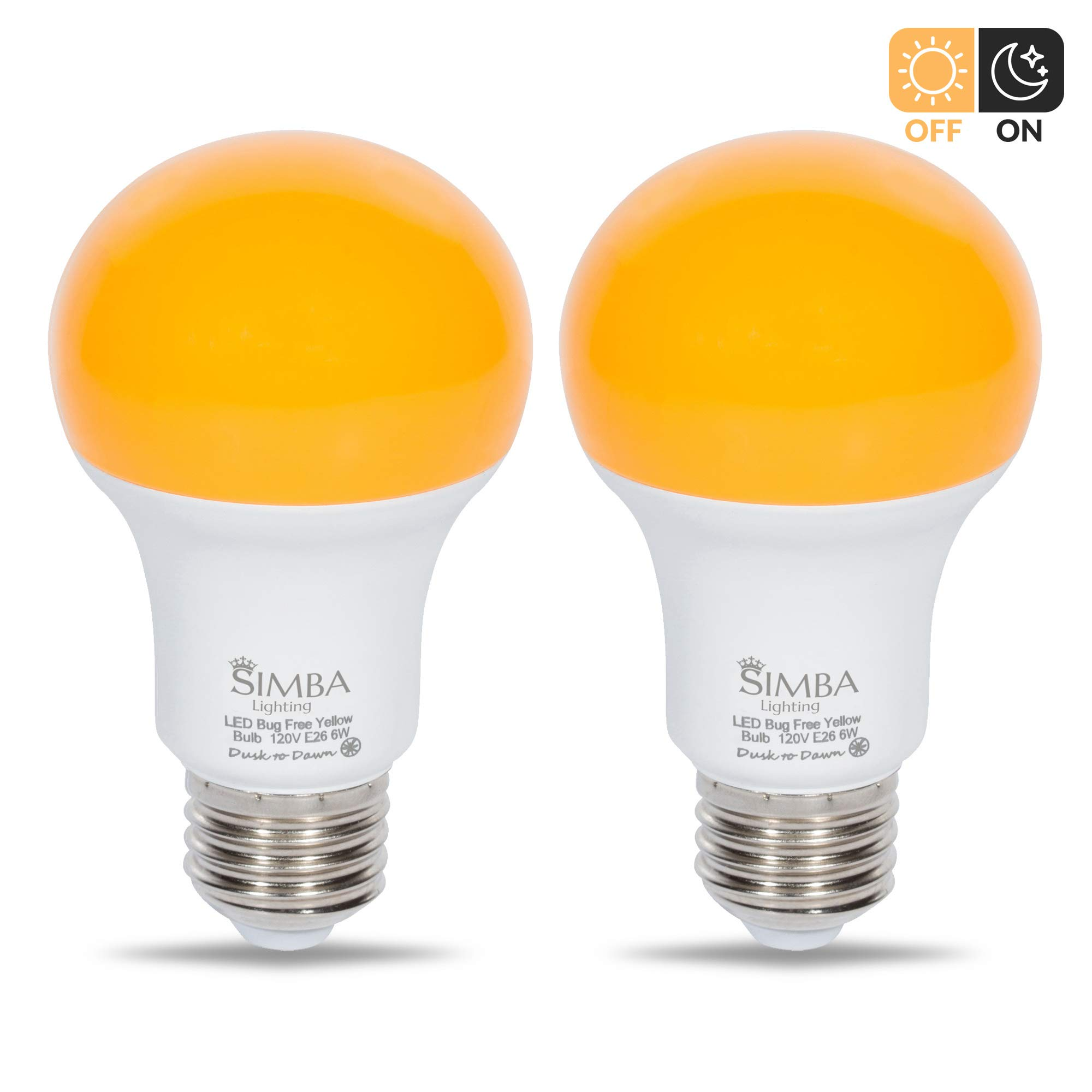 Simba Lighting Bug Repellent Yellow LED Bulb 6W 40W Equivalent, Great for Outdoor Porch Light, Night Light, Dusk-to-Dawn Smart Sensor Auto On/Off, Amber Warm 2000K, A19 E26 Medium Base, Pack of 2