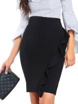 Milumia Women's Frill Trim Form Fitting Elegant Bodycon Midi Pencil Skirt