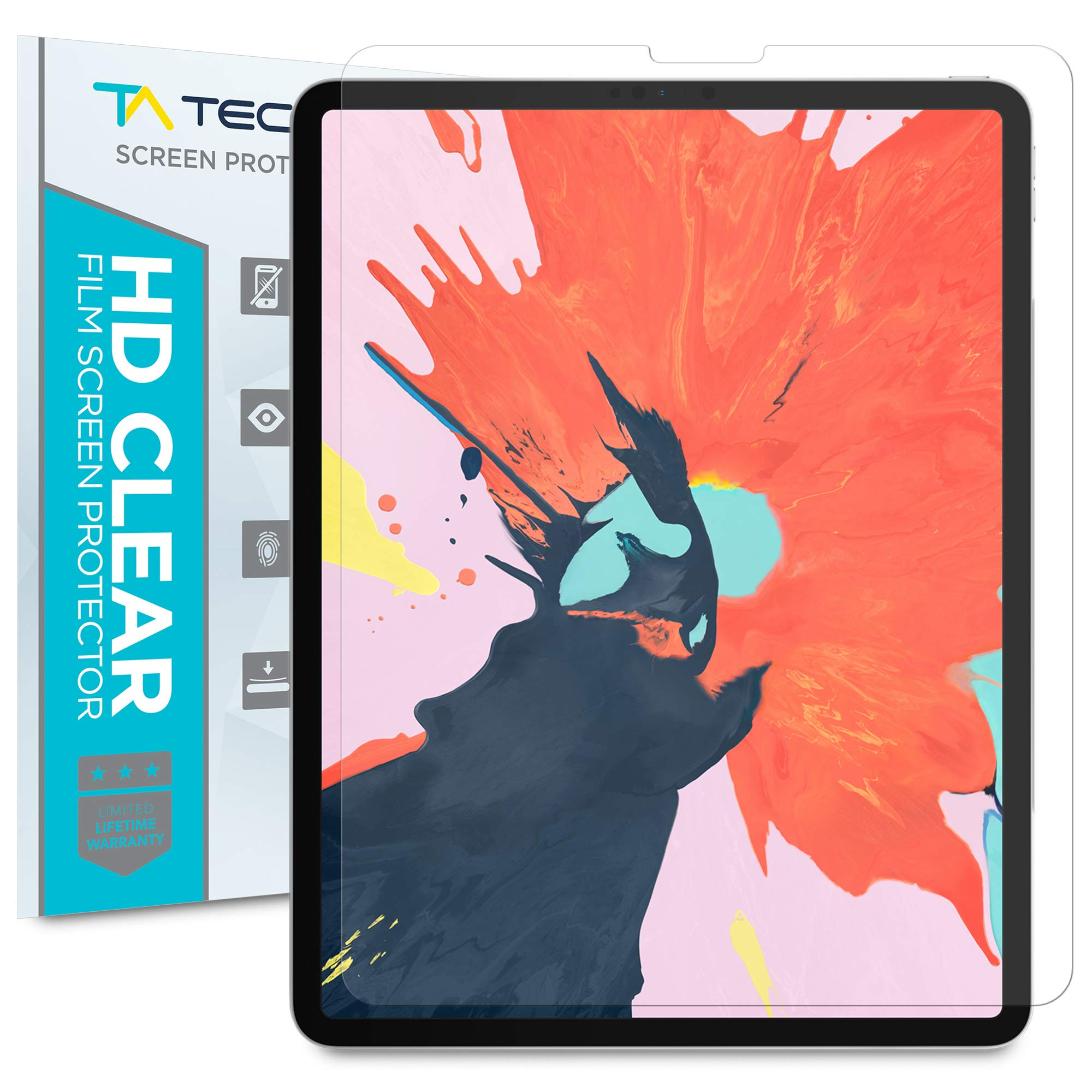 Tech Armor Anti-Glare/Anti-Fingerprint Plastic Film Screen Protector (Not Glass) Designed for Apple iPad Pro 12.9-inch (New 2020 and 2018) [2-Pack]