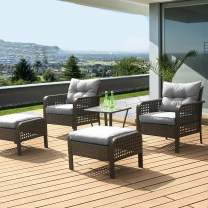 LUCKWIND Patio Sofa Chair Table Ottoman - 5 Piece All-Weather Brown Checkered Wicker Rattan Seating Olefin 3-Layered Ergonomic Cushion Modern Glass Coffee Table Outdoor 300lbs (Grey)