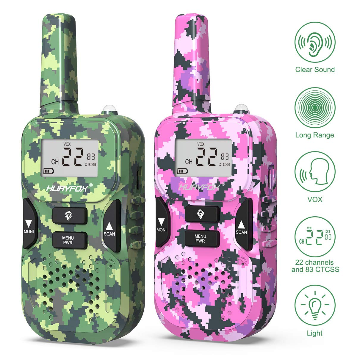 Walkie Talkie for Kids- Two Way Radio Toys with 22 Channels 83 Privacy Codes-Long Range Walky Talky with VOX Function for Camping,Hiking, Outdoor Adventures (2 Pack,Camo&Pink)
