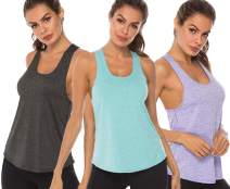 URBIUTF Workout Tank Tops for Women Racerback Athletic Yoga Tops Running Exercise Gym T-Shirts (Pack of 3)