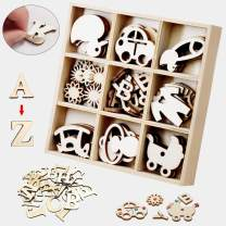 [ElekFX] Wooden Embellishments Kits 45pcs Mini Laser Cuts Wood Scrapbooking Unfinished Wooden Ornament DIY Craft Wood Shape for Toys Crafts Christmas Gifts