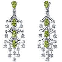 Peora 4.00 Carats Peridot Dangle Earrings Sterling Silver