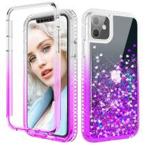 Maxdara Glitter Liquid Case for iPhone 11 Case, Full-Body Case with Built-in Screen Protector Sparkly BlingDiamond Rugged Shockproof Protective Case Cover for iPhone 11 6.1 inches (Purple)