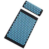 TOPNEW Acupressure Mat and Pillow Set, Back and Neck Pain Relif, Muscle Relaxation, Bed Massage Pillow Pad for Full Body Massager Cushion