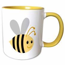 "3dRose mug_224192_8""Cute cartoon bumble bee, Yellow"" Mug, 11 oz"