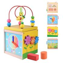 BONROB 5 in 1 Wooden Activity Cube - Multifunctional Educational Toy with Bead Maze and Shape Sorter, Xmas Christmas Birthday Gift for 1+ Year Old Kids and Toddlers