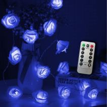 Timer 8 Modes 30 LED Battery Operated Blue Rose Flower 16.4 Feet Fairy String Light for Valentine Decoration Wedding Bedroom Garden Christmas Decor (30LED 16.4Feet, Blue)