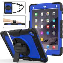 SEYMAC Stock iPad 6th/5th Generation Case, Shockproof [Full-Body] Rugged Armor Case with 360 Rotating Stand [Pencil Holder] [Screen Protector] Hand Strap for iPad 6th/5th/ Air 2/ Pro 9.7 (Blue+Black)