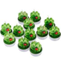 TecUnite 12 Pieces Shamrock Tealight Candles Handmade Delicate Clover Candles for St. Patrick Party Day Wedding Spa Home Decoration Gifts (Style F)